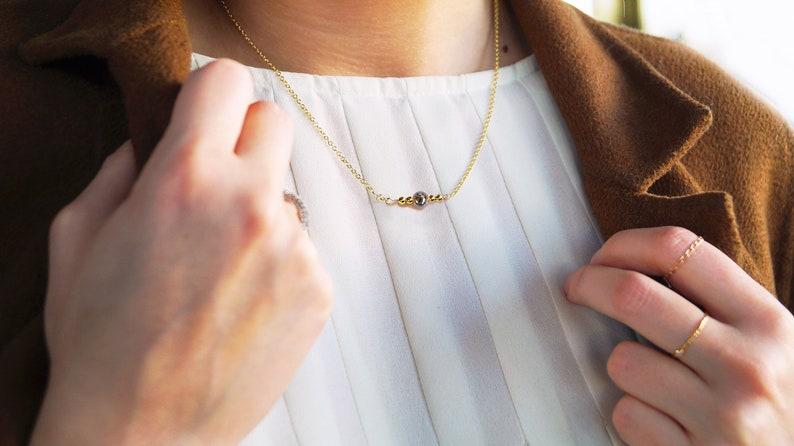 3eb130a12259 Collar Ónix. Collar Bolas Oro. Collar de Gold Filled 18k.