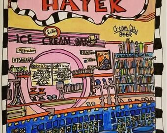 Greeting Cards Pack of 5 w/ envelopes: Hayek's Drugstore, 1930's Soda Fountain