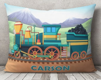 Pillowcase Train Pillowcase Nursery Pillowcase Custom Bedding Custom Pillowcase Custom Pillow Cover Personalized Pillowcase