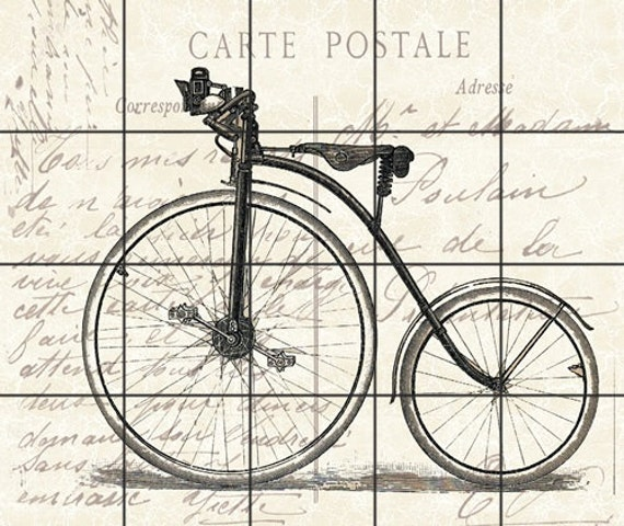 Fabric Block Vintage Old Bicycle Carte Postale Sewing Quilting Etsy
