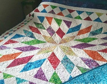 Quilt for Sale, Handmade Quilts for Sale, Patchwork Quilt for Sale, Made To Order Quilt, King or Queen Size Quilt, Big Star Quilt,