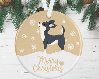 Gift Tag Dog Chihuahua Christmas Tree Bauble Birthday Tag Christmas Gold