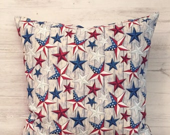 Primitive Fourth of July, Primitive Pillow, Patriotic Pillow Cover, Americana Decor, Red White and Blue Pillow, Fourth of July Decor