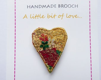 Textile Brooch, Small Heart Brooch, Thank You Gift, Love Token, Gift for Mum, Stitched Textile Art, Fibre Art, Handmade OOAK Gift, UK Seller
