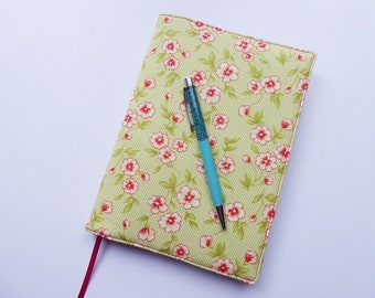 A5 Book Cover with Sketchbook or Notebook, Removable A5 Book Cover, Fabric Journal Cover, Green Floral Fabric, A5 Book Sleeve, UK Seller
