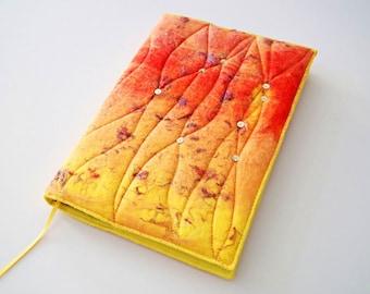 A5 Felted Book Cover with Notebook or Sketchbook, Handmade Wool Felt, Fibre Art, Textile Art, Felted Journal Cover, 'Flame', OOAK, UK Seller