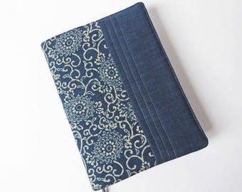 A5 'Indigo' Planner Cover, 2018 Diary, Journal Cover, Removable Fabric Cover, Fits Hobonichi Cousin, Japanese Indigo-Dyed Cotton, UK Seller
