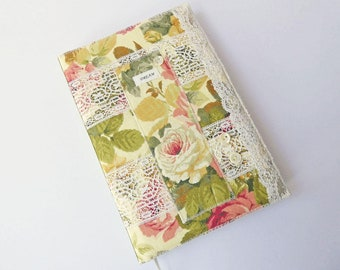A5 Textile Art Book Cover with Notebook or Sketchbook, Textile Collage, Vintage Fabric & Lace, Keepsake Book, Removable Cover, UK Seller