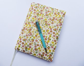 A5 Book Cover with Sketchbook or Notebook, Removable A5 Book Cover, Fabric Journal Cover, Pretty Floral Fabric, A5 Book Sleeve, UK Seller