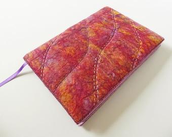 A5 Felted Book Cover with Notebook or Sketchbook, Handmade Wool Felt, Fibre Art, Textile Art, Felt Journal Cover, 'Fuchsia', OOAK, UK Seller