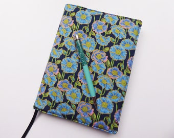 A5 Book Cover with Sketchbook or Notebook, Removable A5 Book Cover, Fabric Journal Cover, Blue Poppy Fabric, A5 Book Sleeve, UK Seller