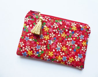 Zipped Tassel Purse, Small Make Up Bag, Cosmetics Purse, Gift Purse, Travel Pouch, Handbag Tidy, Storage Pouch, Japanese Cotton, UK Seller