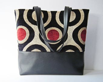 Tote Bag, Shopper, Day Bag, Work Bag, Multi-Purpose Tote, Shoulder Bag, Black Faux Leather, OOAK, UK Seller