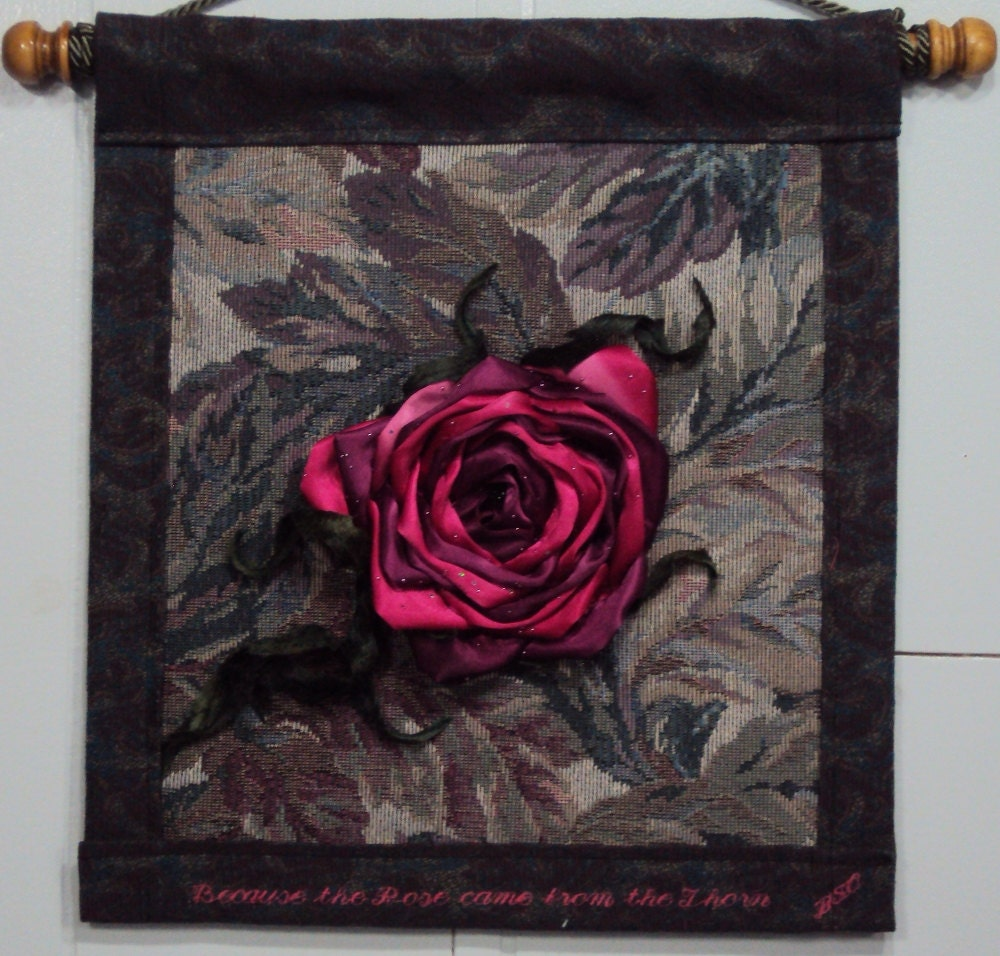 The Rose Came From The Thorn Rumi Quote Original Fiber Art Etsy