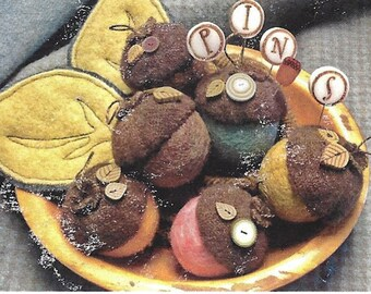 Just Another Button Company - Acorn Medley Mini-Pincushion - Sewing Pattern Buttons Pins Wool Felt Balls