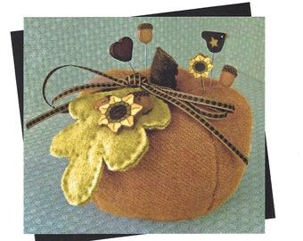 Just Another Button Company - Pumpkin Spice Pincushion - Sewing Pattern with Buttons and Pins