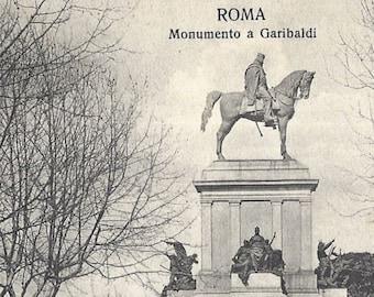 Cancelled Stamp Roma No 393 Ernesto Richter Publisher Antique  Postcard Monumento a Garibaldi