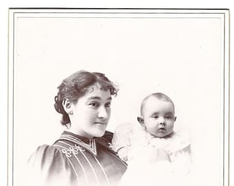 Vintage Cabinet Card - Mother and Child - Photographer Frank Gleason - Willimantic Connecticut