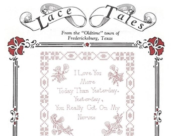 Lace Tales Redwork Pattern - Hot Iron Transfers - Love You More - Early Bird