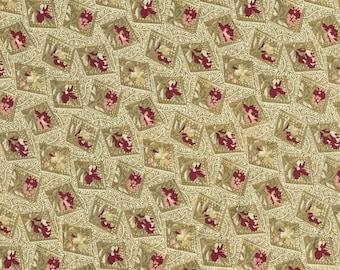 Dark Khaki Green Background Designer Virginia Robertson Five Yards Fabri Quilt Civil War Reproduction Pattern VR118
