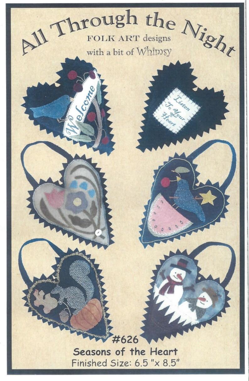 Seasons of the Heart All Through The Night Spring Summer Wool Pack Wool Applique Pocket Pattern Designer Bonnie Sullivan