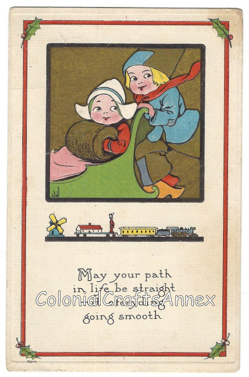 May Your Path In Life Be Straight Mit Eferyding Going Smooth S Bergman New York Antique 1913 Postcard
