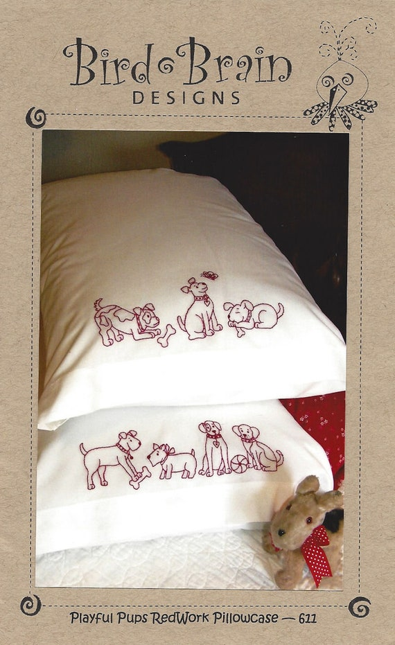 Bird Brain Designs Playful Pups Redwork Pillowcase Etsy