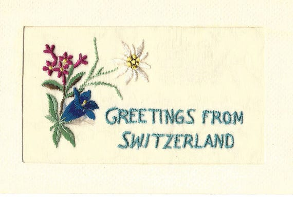 Vintage postcard greetings from switzerland silk floral etsy image 0 m4hsunfo