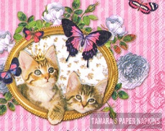 Decoupage Royal Sweet Cat Kitten 6 Vintage Cocktail Paper Napkins 25cm x 25cm