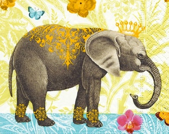 PAPER TABLE NAPKINSELEPHANTS FOR CRAFT DECOUPAGE EXOTIC TEA PARTIES 171