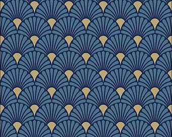 Set of 2 Geometric Art Deco Dinner Napkins 1920s Glam  Decorative Cloth Napkins by Spoonflower - Ornamental Deco Midnight by ceciliamok