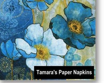 4 Decoupage Napkins, Paper Napkins, HARMONY BLUE, 33 cm 13 Inch. Decorative Paper Serviette for Decoupage. Printed in Europe.