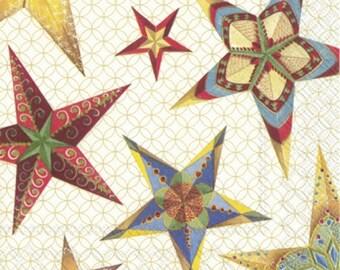 Decoupage Serviettes 4 Decoupage Napkins 1800 Designs DEUX ETOILES RED Paper Napkins Lunch Size Decoupage