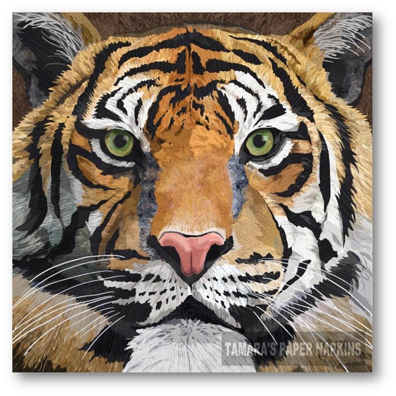 4 lose Servietten Napkins Tiger
