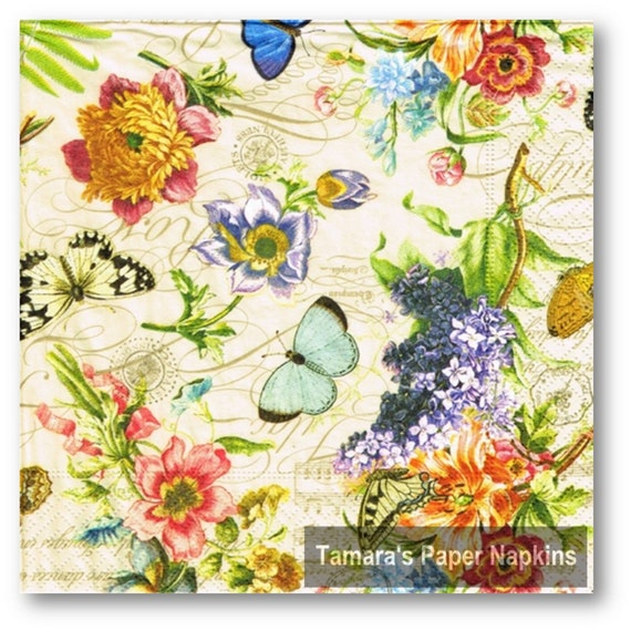 4 Decoupage Napkins Vintage Summer Floral 13 33cm Etsy