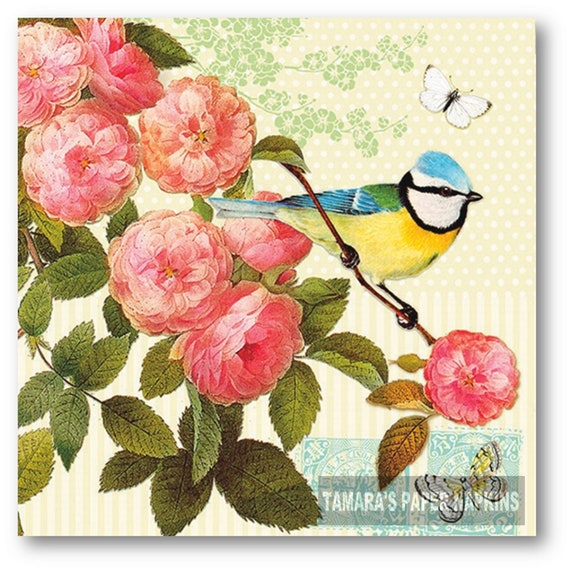 4 Lunch Paper Napkins for Decoupage Craft Vintage Napkin Winter Birds