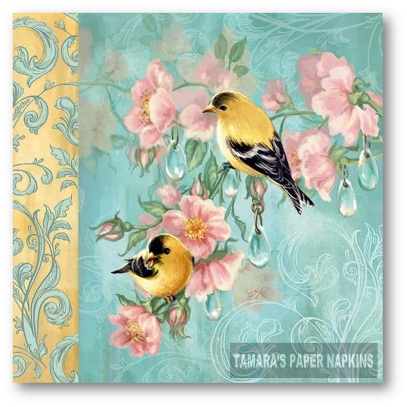 4x Designer PAPER NAPKINS for Decoupage Craft CLEARANCE SALE PAPER BIRDS