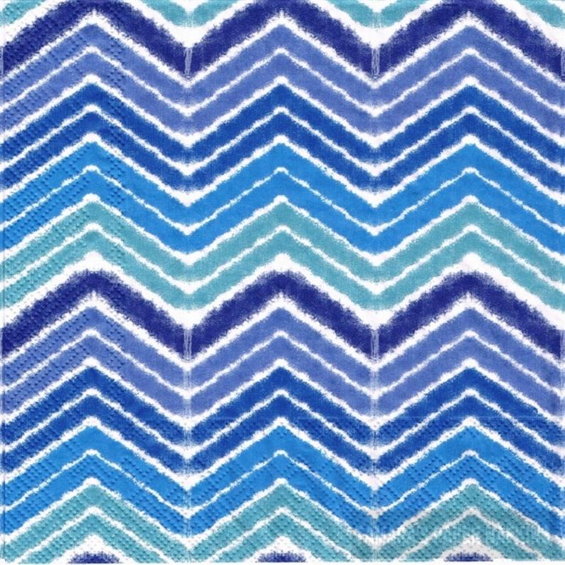 Paper Napkins Lunch Size 4 Decoupage Napkins Decoupage Decoupage Serviettes IKAT CHEVRON BLUE 1800 Designs