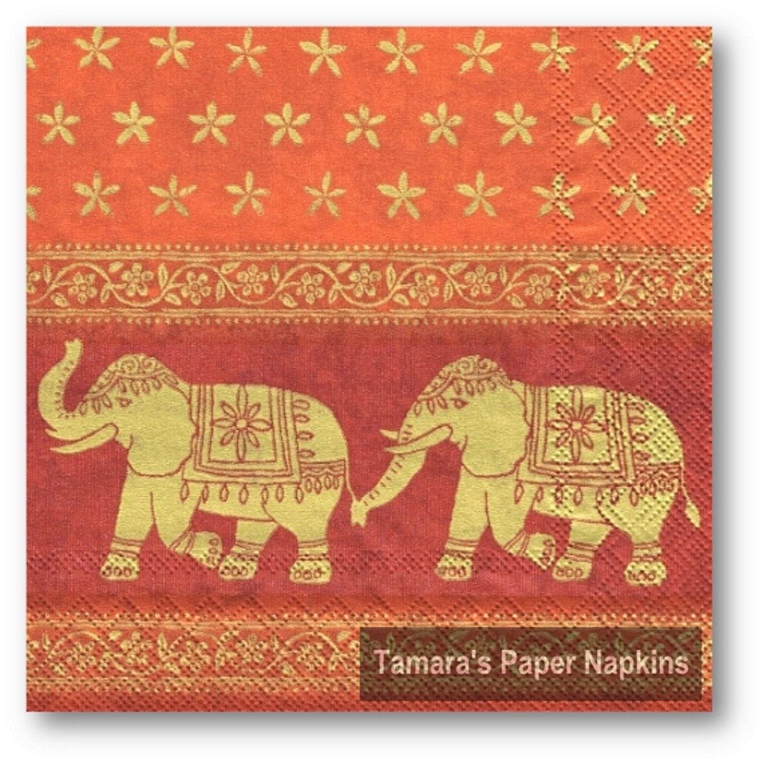 4 Decoupage Napkins Marani Elephants Orange 13 33cm Etsy
