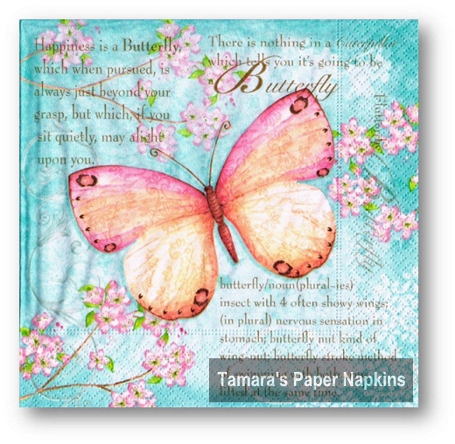 4 Decoupage Napkins Butterfly Poetry 13 Lunch Napkins Etsy