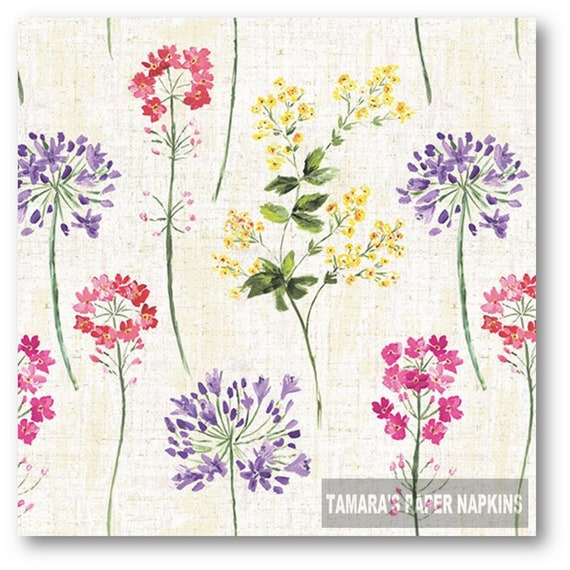 4 Lunch Paper Napkins for Decoupage Craft Vintage Napkin Lilac Letter Cream