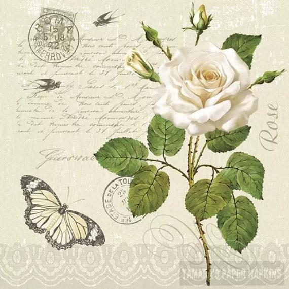 Paper Serviette Vintage Rose Postcard Napkin for Decoupage Decoupage Napkins 4 Paper Napkins For Decoupage Decoupage Prints  
