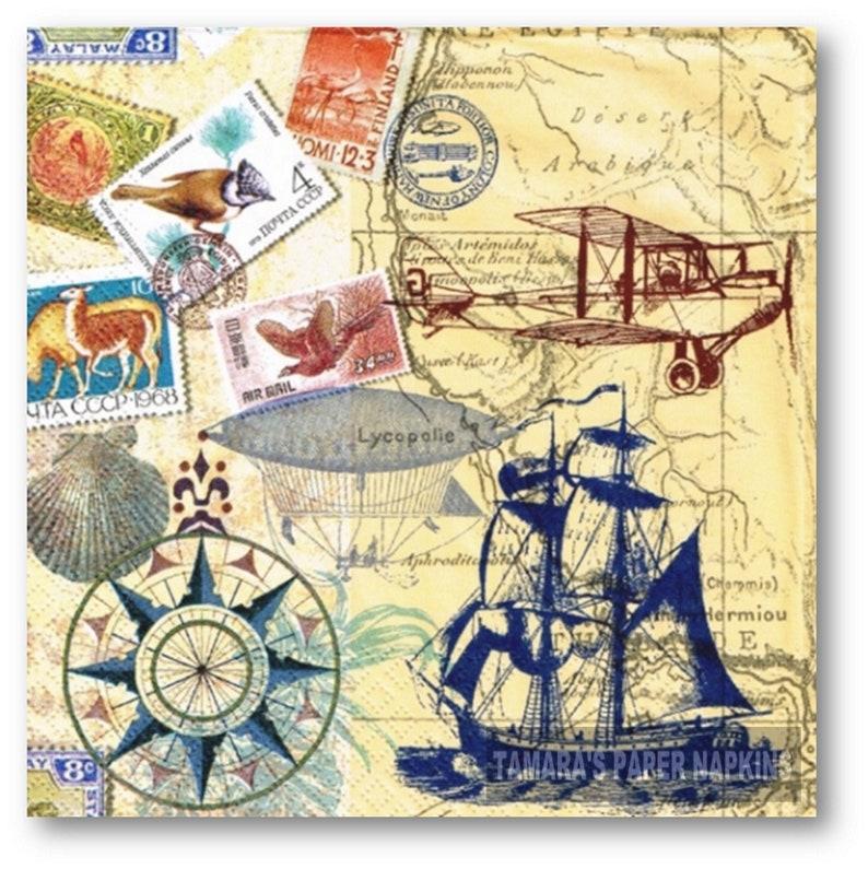SALE SEAFOOD BLUE NAUTICAL 4x Designer PAPER NAPKINS for Decoupage Craft
