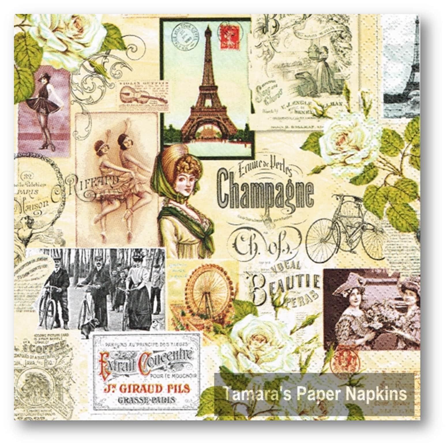 4 Decoupage Napkins Paris Collage 13 33cm Lunch Etsy