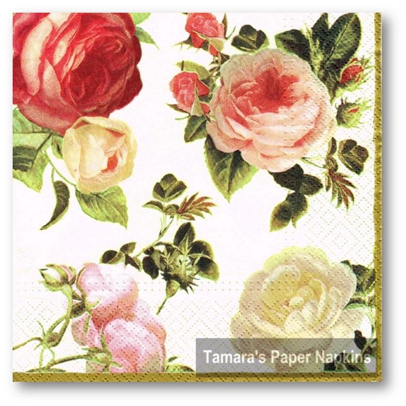 4 Single paper decoupage napkins 05 Roses design