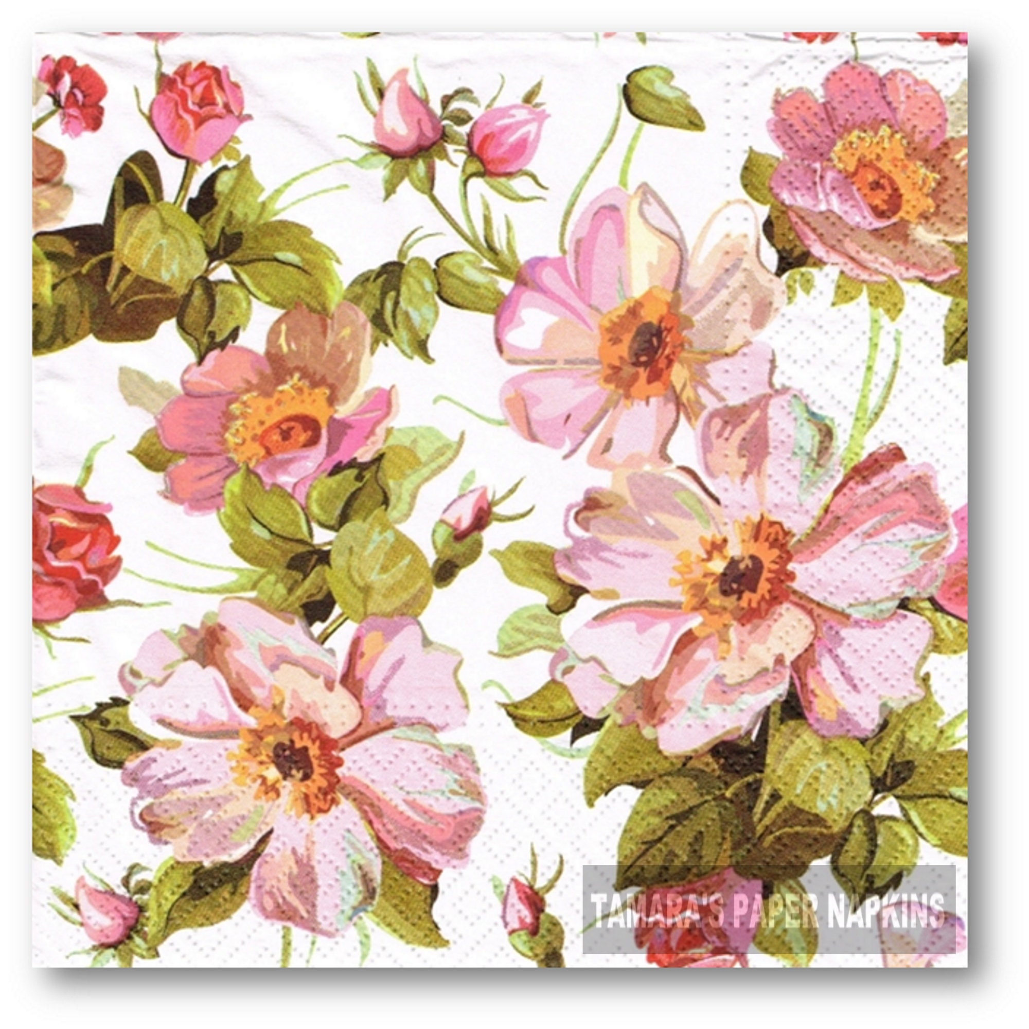 4x Paper Napkins for Decoupage Craft Welcome Pink