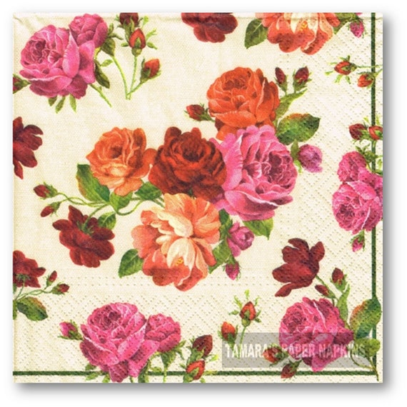 4 Lunch Paper Napkins  Decoupage Craft Vintage Party Napkin Cathy Roses 2