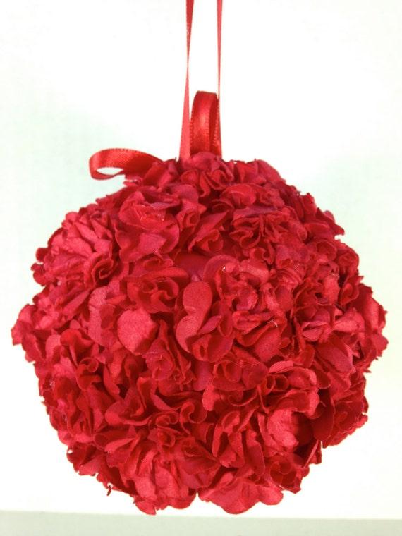 Red carnation paper flower pomander kissing ball ornament etsy image 0 mightylinksfo