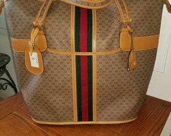 b1c2397eed7ff Vintage Gucci Monogram Webbed GG Tote with red/green stripe in | Etsy