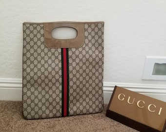 528b10c2ee44 Vintage Gucci Monogram Webbed GG Tote with red/green stripe in middle